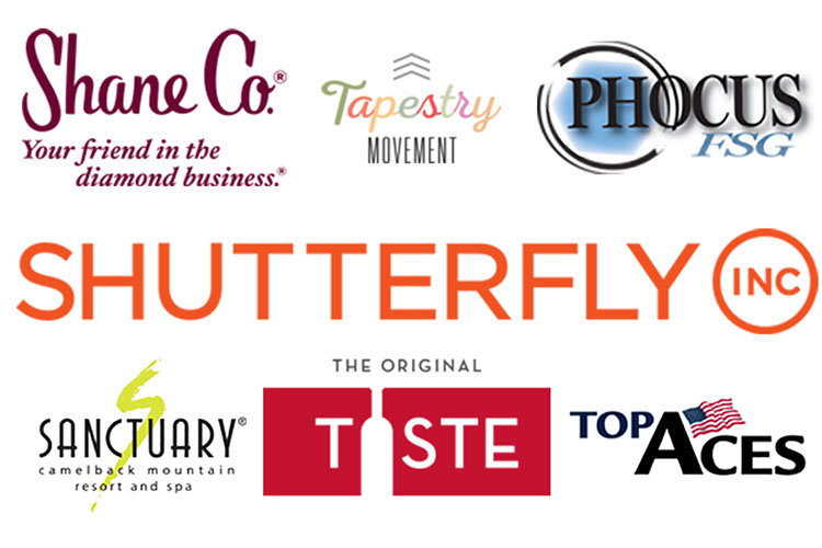 Shane Co., Tapestry Movement, Phocus, Shutterfly, Sanctuary, Taste of Scottsdale, and Top Aces